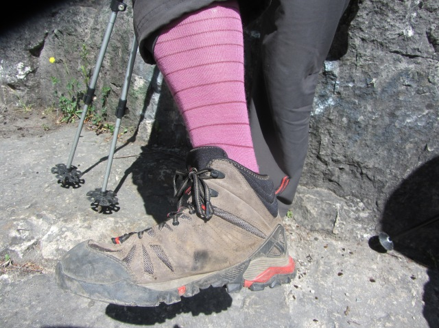 """Here we see the """"Pippi Longstocking"""" version of a trail sock. So charming and flattering!"""
