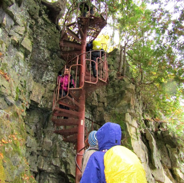 Thankfully there was a charming iron spiral staircase to aid the climb.
